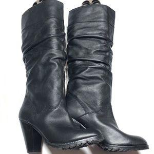 Zodiac Vintage leather black boots w/ruching, 9M